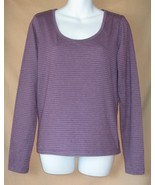 L Calvin Klein Jeans Purple Silver Stripe Stret... - $10.00