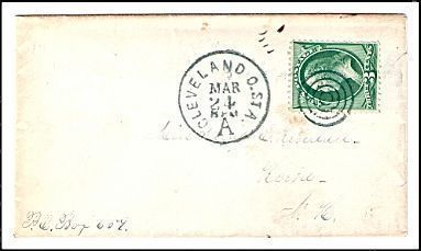c1875 Cleveland OH Station A Vintage Post Office Postal Cover