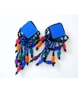 Vintage Chunky Colorful Blue Dangles Earrings P... - $8.90