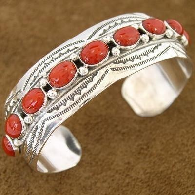 Traditional Navajo Indian Jewelry Red Coral Sterling Silver Cuff Bracelet