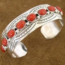 210904_0155_975518_navajo_indian_jewelry_coral_silver_bracelet_by_native_american_artist_emerson_thumb200