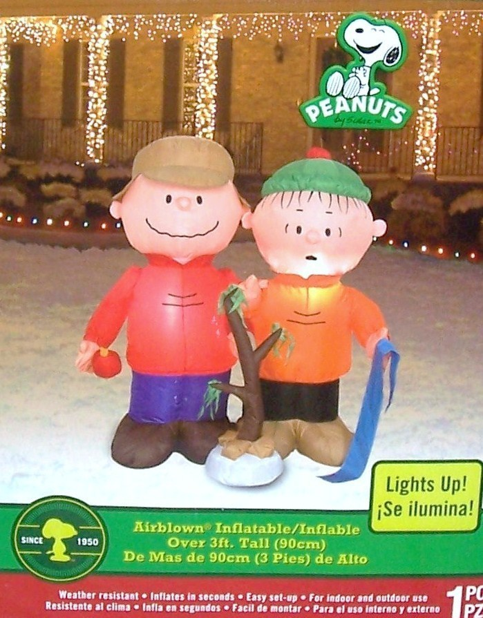 peanuts inflatable christmas charlie brown linus nib yard decor - Snoopy Blow Up Christmas Decorations