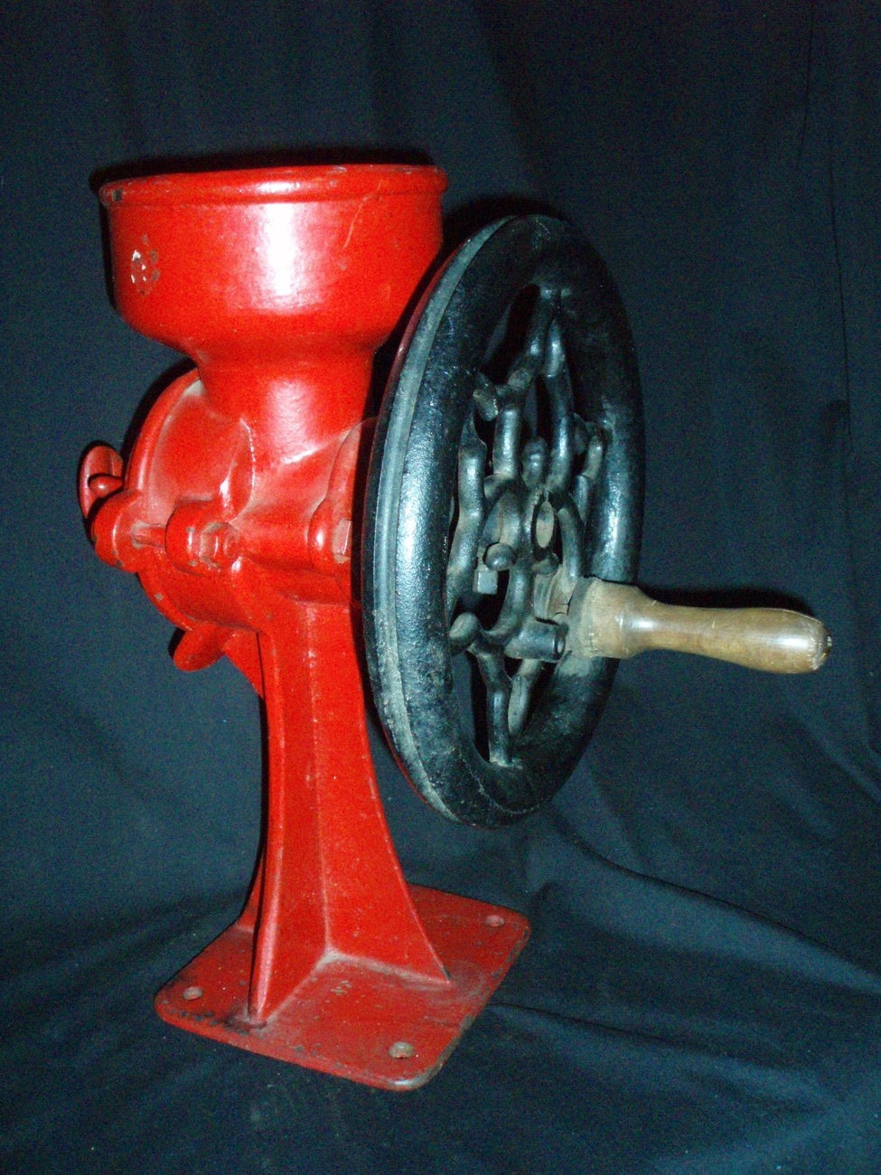 coffee bean grinder mill antique red black cast iron vintage
