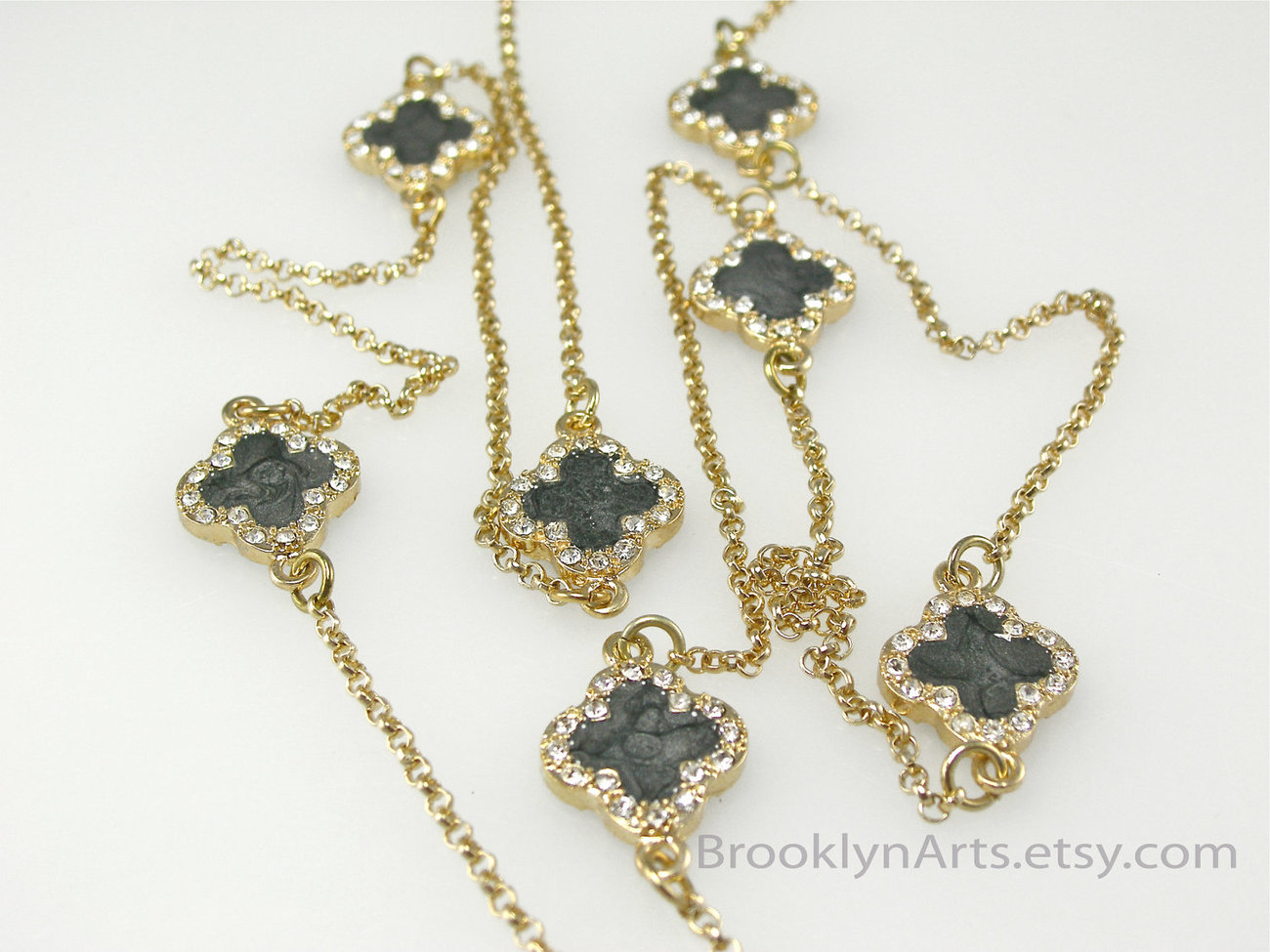Clover Leaf Necklace Black - Sarah - This Week Only FREE Earrings