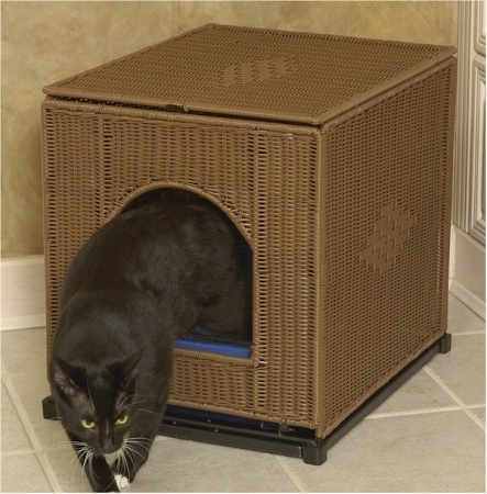 Mr. Herzher's Wicker Cat Kitty Litter Pan Box Cover Cabinet  JUMBO DARK BROWN