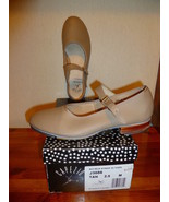 GIRL'S TAN BUCKLE STRAP WITH TAPS SHOES SIZE 2 ... - $25.00