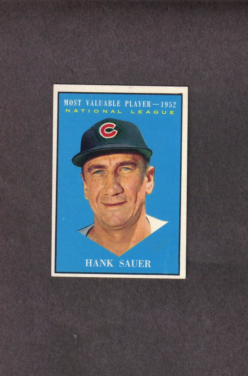 1961 Topps # 481 Hank Sauer 1952 MVP Chicago Cubs
