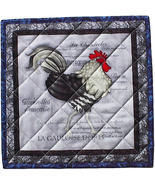 French Rooster Hot Pad, handmade quilted trivet... - $14.95