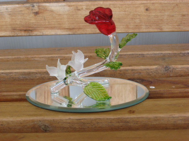 Glass Rose Flower with Love Birds on Mirror Base Romantic Figurine