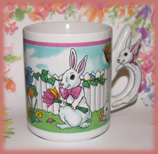 Bunny Rabbits Cup Mug Collectible Easter Scene New