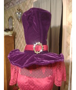 Purple hatter top hat hadder Huge red band adju... - $12.00