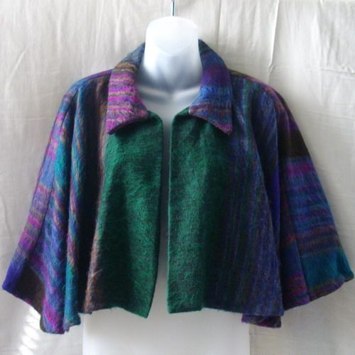 New yak hair short cape in green, purple, blue and brown