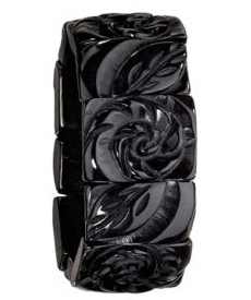 Carved Jet Rosette Stretch Bracelet by Cookie Lee