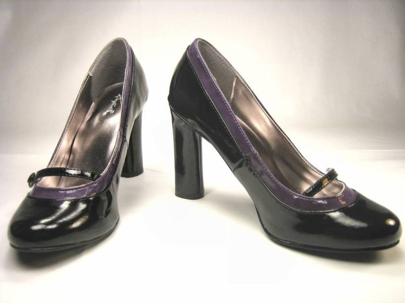 Baby doll rockabilly mary jane 4 inch high heel pumps black purple patent shoes