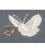 Embroidered iron on WHITE BUTTERFLY patch 2.75x2