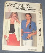 McCalls womens blazer sewing pattern 7051 Miss ... - $3.00