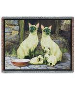 70x53 SIAMESE CAT Tapestry Afghan Throw Blanket  - $49.95