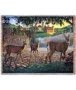 70x53 DEER Buck Doe Farm Tapestry Throw Blanket... - $49.95