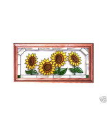 22X11 Stained Art Glass SUNFLOWERS Framed Sunca... - $52.00