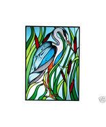 10x14 Stained Art Glass BLUE HERON Bird Suncatc... - $42.00