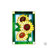 14x20 SUNFLOWER Floral Stained Art Glass Window... - $62.00