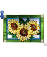 20x14 Stained Art Glass SUNFLOWER Window Panel ... - $62.00