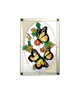 14x20 Monarch BUTTERFLY Flowers Floral Stained ... - $62.00