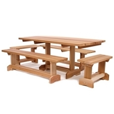 5 Pc Set RED CEDAR Wood Picnic Table Bench Furniture