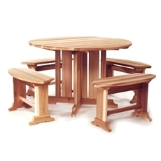 Western RED CEDAR Round Picnic Table Bench Patio SET