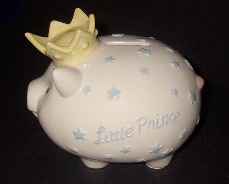 Little Prince Piggy Bank Ceramic by Mud Pie White Blue Stars