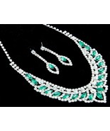 Elegant emeral green crystal rhinestone bridal ... - $19.34