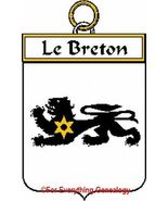 LE BRETON French Coat of Arms Print LE BRETON F... - $25.00