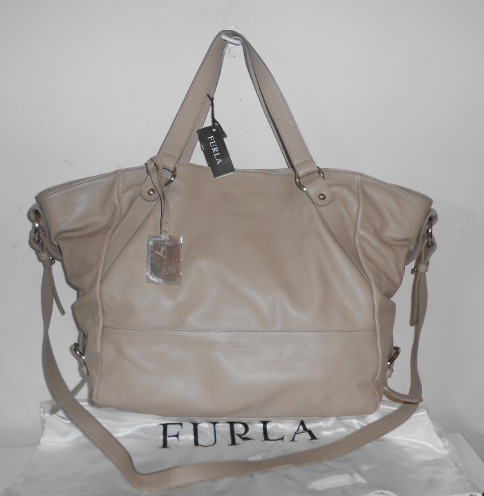FURLA HANDBAG TAUPE SMOOTH LEATHER GAM XL SATCHEL SHOPPER TOTE CROSSBODY NWT 595