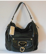 MICHAEL KORS PURSE BLACK SNAKE LEATHER LG SHOULDER HOBO HUDSON DOWNTOWN NWT $448 - $274.99