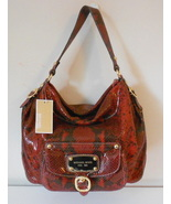MICHAEL KORS PURSE RED PYTHON LEATHER LG SHOULDER HOBO HUDSON DOWNTOWN NWT $448