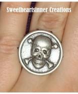 Victorian Steampunk Skull Crossbones Unisex Ring - $13.70