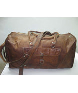 leather duffel bag  vintage style retro look  gym bag overnite bag Large weekend - $99.00
