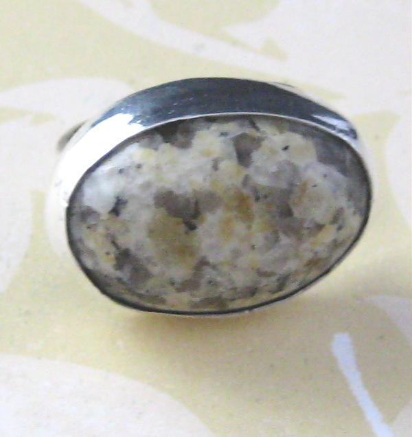 Yellow and Grey Granite and Sterling Silver Ring Size 5 and
