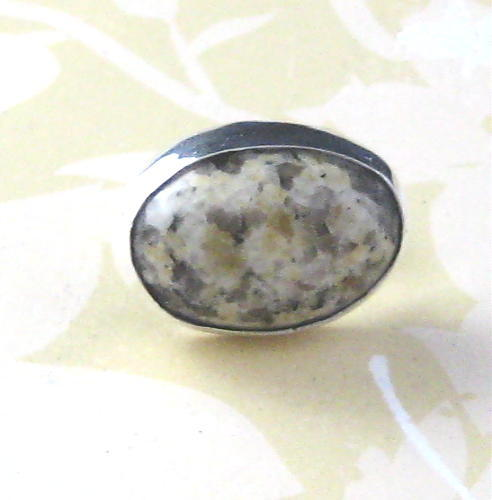 Yellow_and_grey_granite_and_sterling_silver_ring_size_5_and_a_half