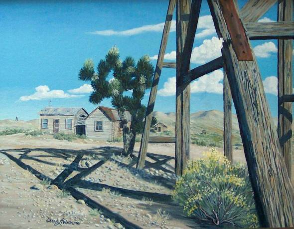 Ghost Town Goldfield Nevada Original Oil Painting
