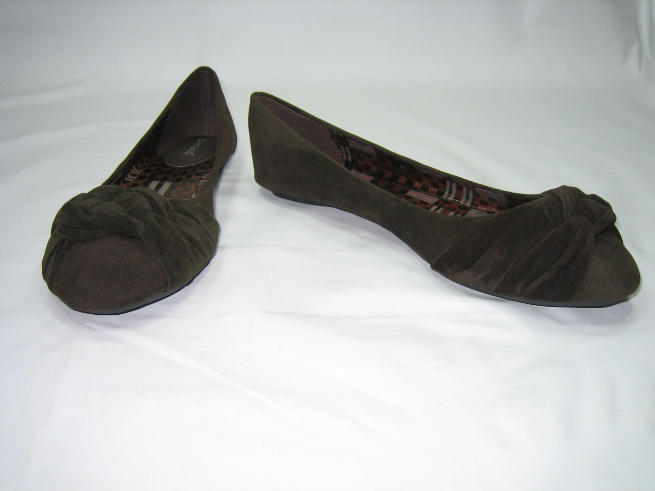 Bamboo ballerina comfort flats pumps women's shoes knotted vamp faux suede brown