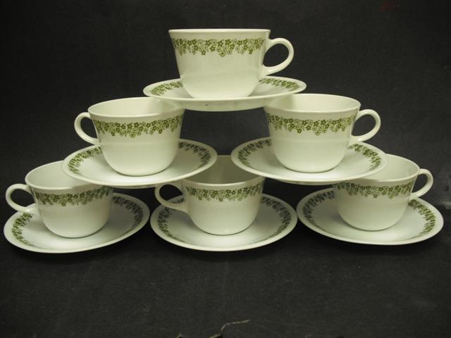Corelle Spring Blossom Centura Cups and Saucers Set of Six