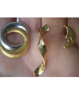 Gold Earrings 3 pairs Lot with Free Gem Gift Je... - $12.00