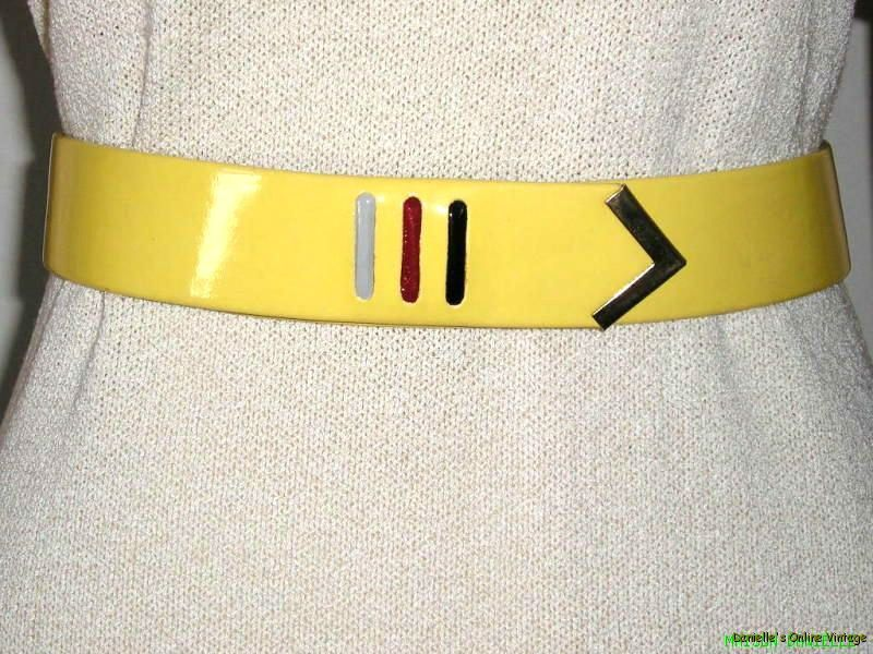 RARE Vtg MOD *CALECHE*for HERMES Signed Ltd Ed MOD YELLOW Patent LEATHER BELT S