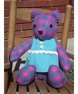 Pink Blue Plaid Stuffed Plush Animal Handmade A... - $54.97