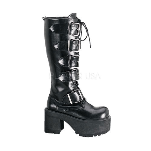 DEMONIA RANGER-318 Mens Knee High Industrial Goth Boots Platform Gothic Shoes