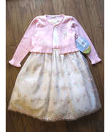 Girls Off White Party Dress Size 2T Wedding American Princess Pink Cardigan NWT - $33.00