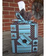 Blue Brown Handmade Polka Dot Stripes Kleenex T... - $16.95