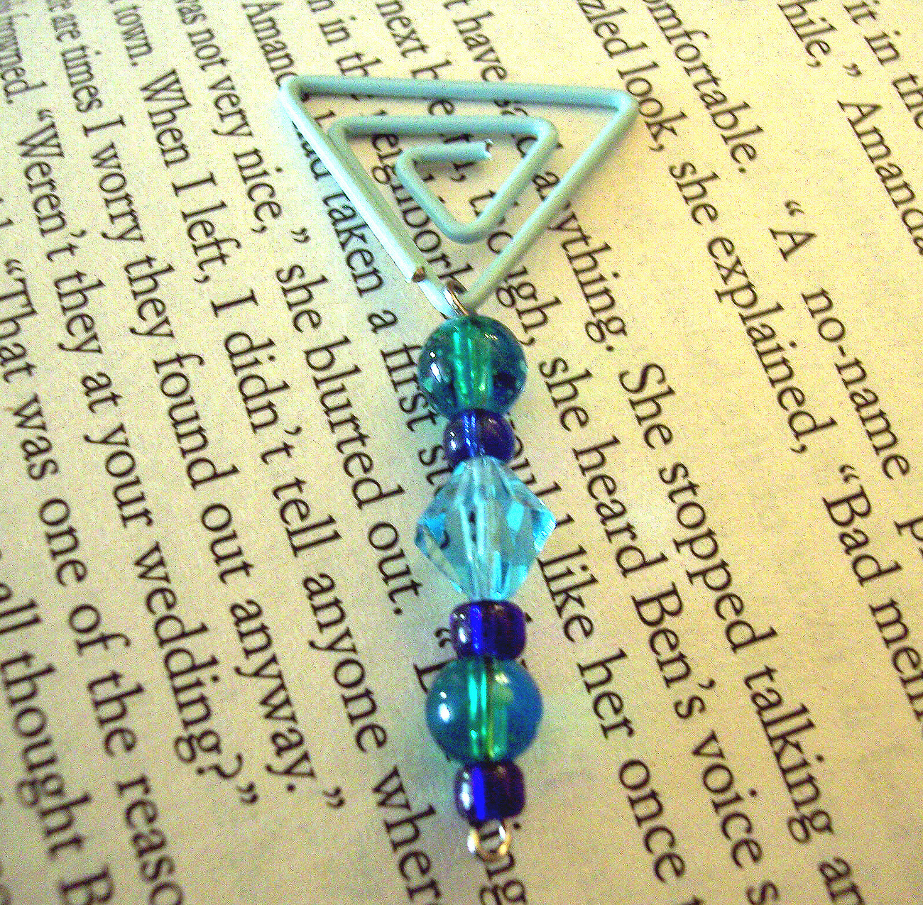 Beaded Page Clip Bookmark - Triangle #6
