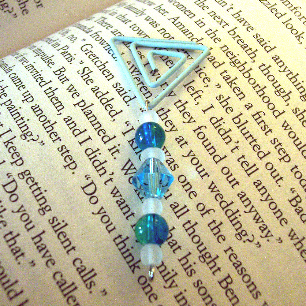 Beaded Page Clip Bookmark - Triangle #8
